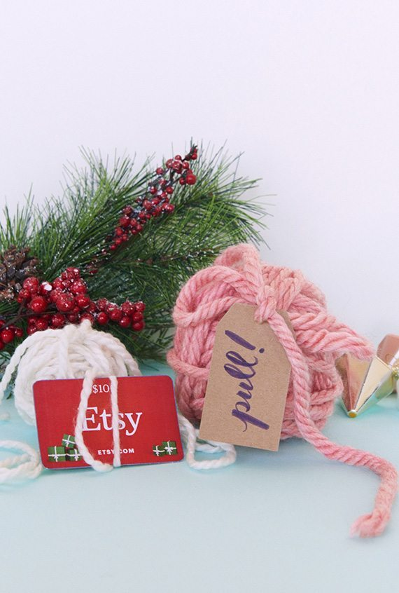 How to make gift cards more special: Nothing is more fun than opening a surprise yarn by like this from BuzzFeed DIY on Etsy Journal.