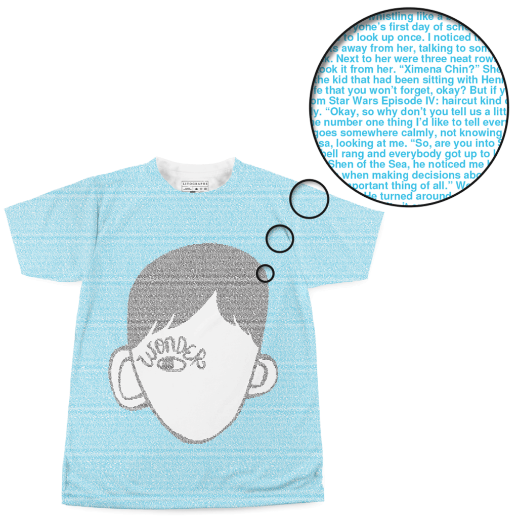 Wonder t-shirt at Litographs, made up entirely of text from the book