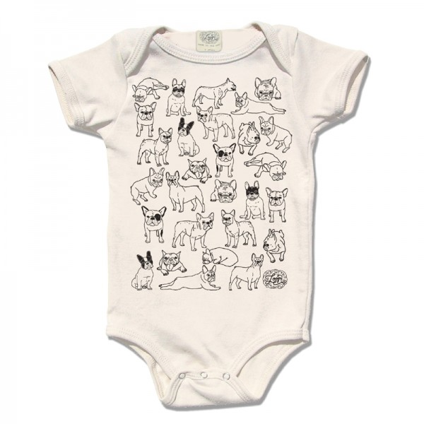 Chinese year of the dog baby gifts: Bark organic cotton French bulldog onesie | Rosenberry Rooms