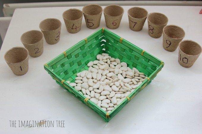 Educational activities for preschoolers when you're stuck indoors: Clever counting activities using beans and small pots or cups via Imagination Tree