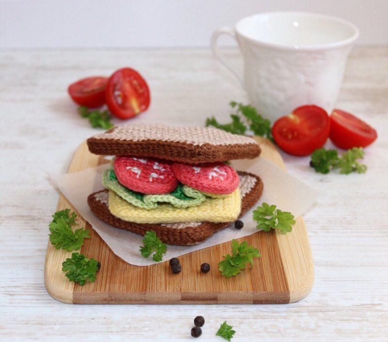 Cutest handmade play food makers on Etsy: Crochet Sandwich by Lil Crochet Love