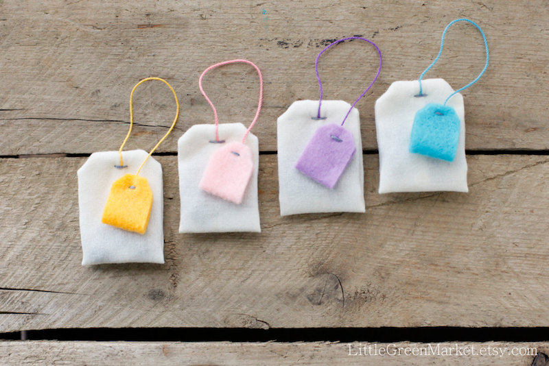 Cutest handmade play food on Etsy: Tea Bag Set by Little Green Market