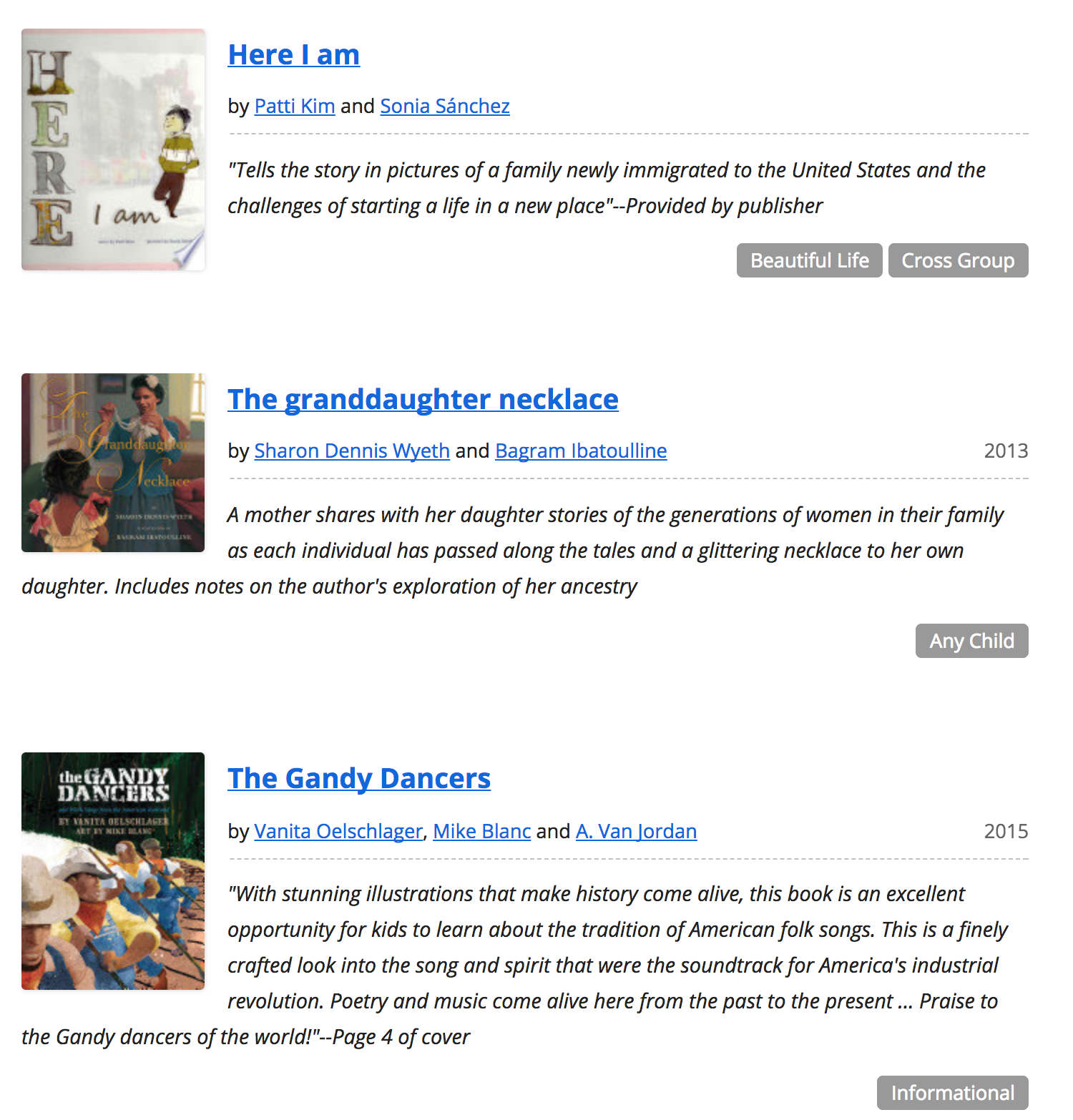 Diverse Book Finder online catalog: Search results can be filtered