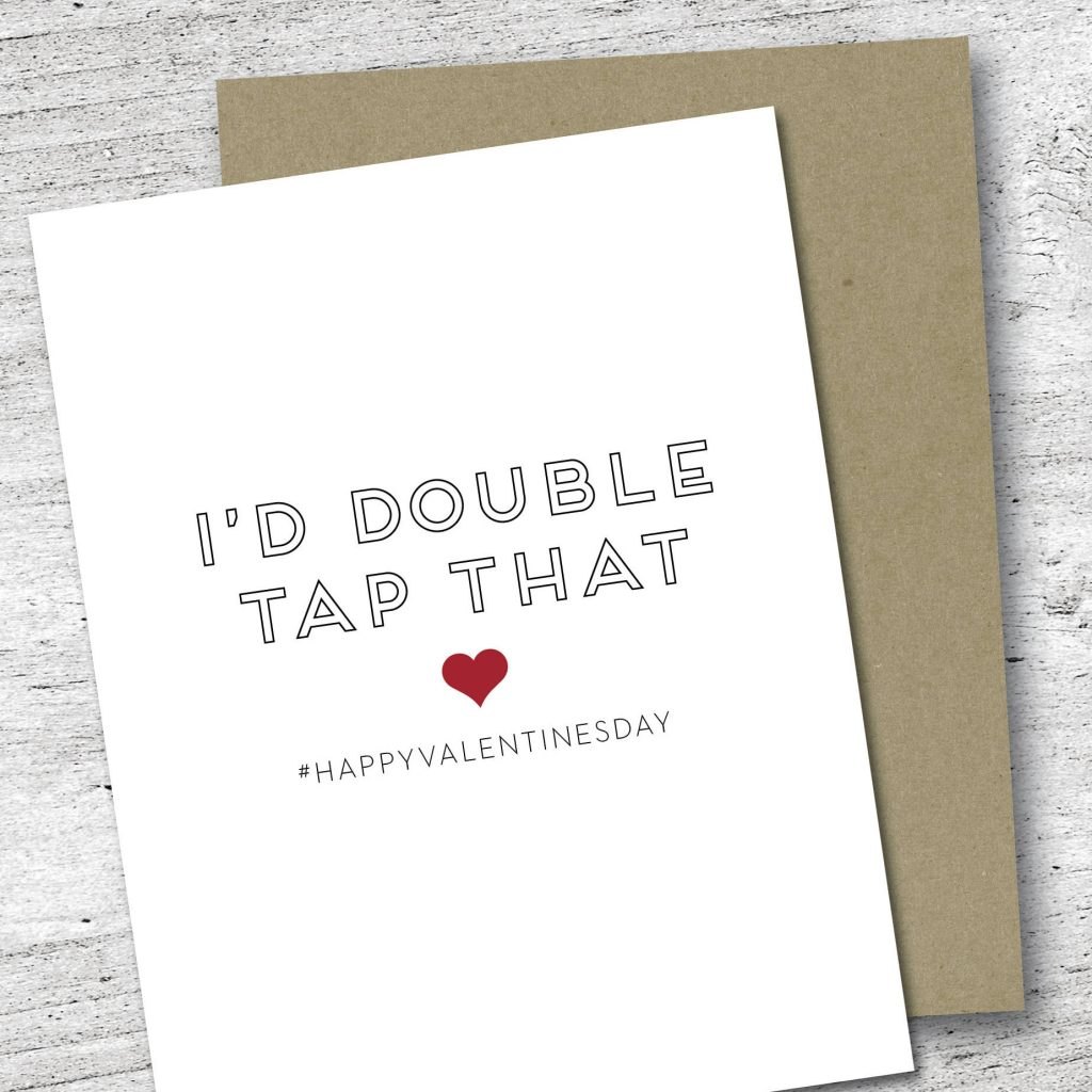 Funny Valentine's Day cards | Double Tap card by Red Headed Step Child Co