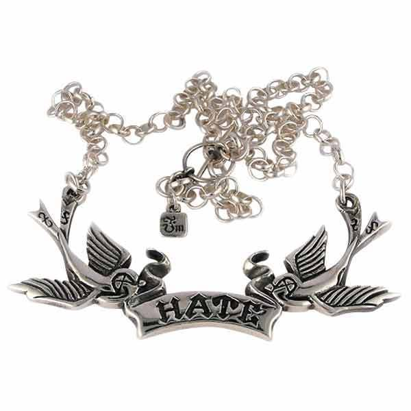 Hilarious Valentine for a cynical friend (or lover): Hate tattoo bird necklace in sterling