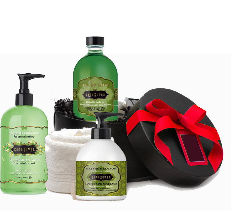 Creative Valentine's gift ideas supporting indie shops: Kama Sutra Spa Gift Basket with an IOU for a night to put it all to good use