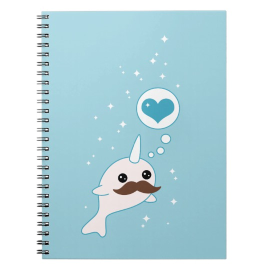 Kawaii narwhal heart notebook: Affordable Valentine's gifts for kids under $15