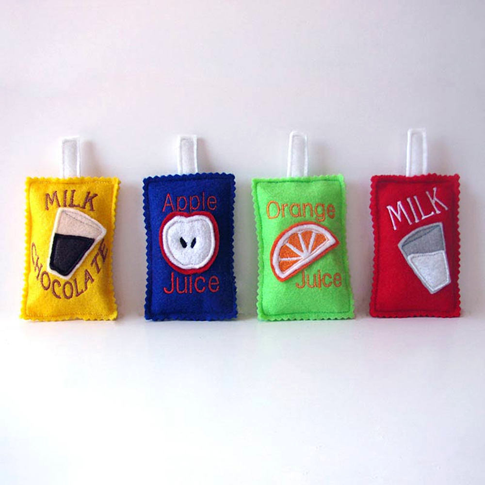 The cutest kids handmade play food makers on Etsy: A set of play felt juice boxes from Ann's Craft House