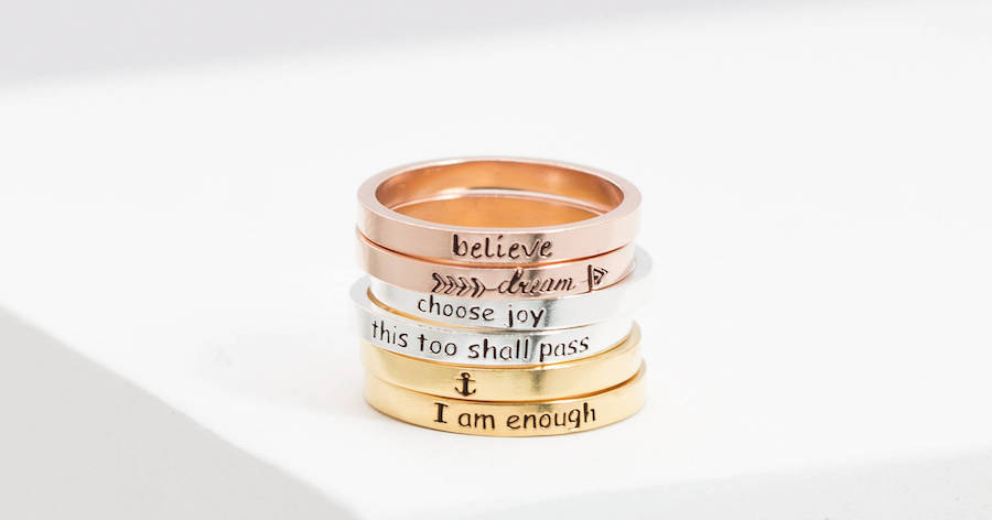 Mood-boosting jewelry: Stackable rings at Caitlyn Minimalist