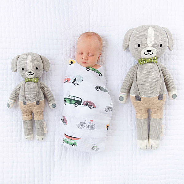 Chinese year of the dog baby gifts: Noah the dog knit dolls | Cuddle & Kind