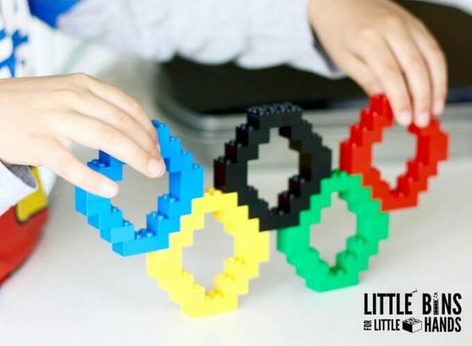 Olympics crafts for kids: LEGO Olympic rings at Little Bins for Little Hands