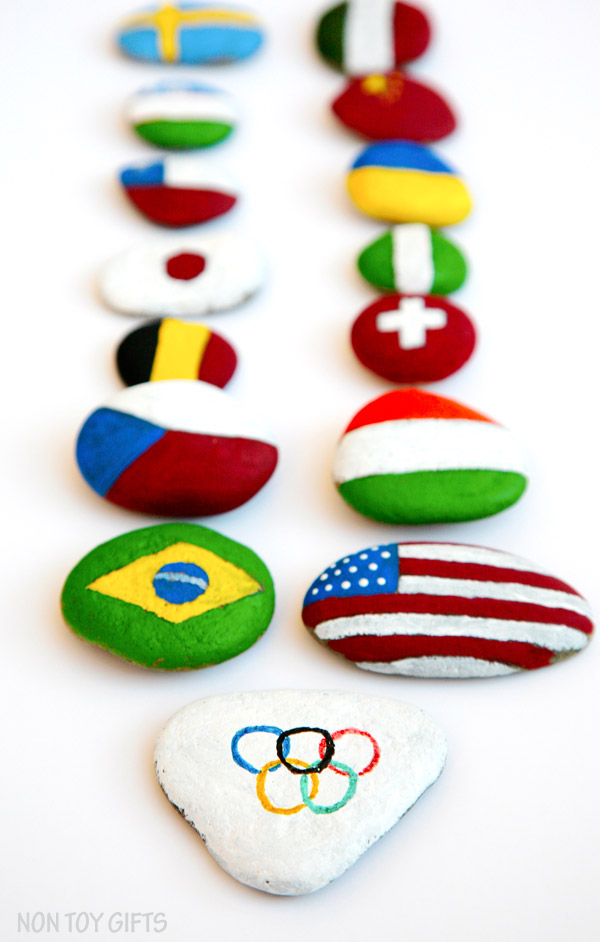 Olympics crafts for kids: Painted rocks at Non-Toy Gifts