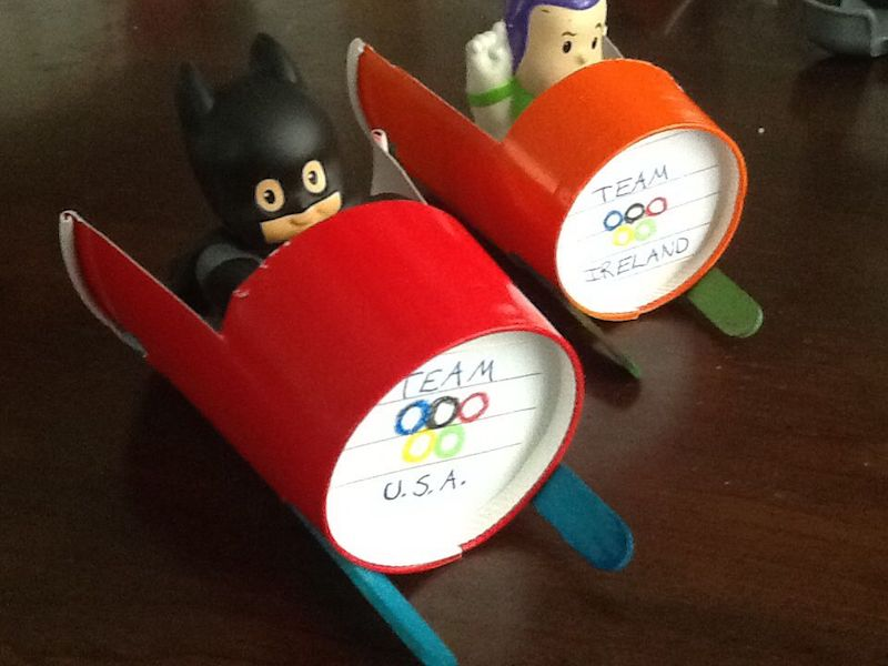 Olympic crafts for kids: Paper cup bobsleds