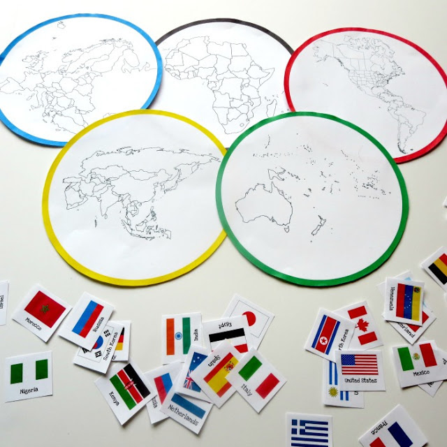 Olympics crafts for kids: Countries sorting game at Planet Smarty