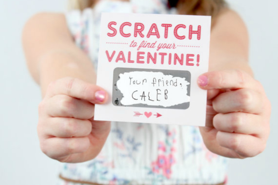 These cool  scratch-off Valentine's Day cards are an instant win.
