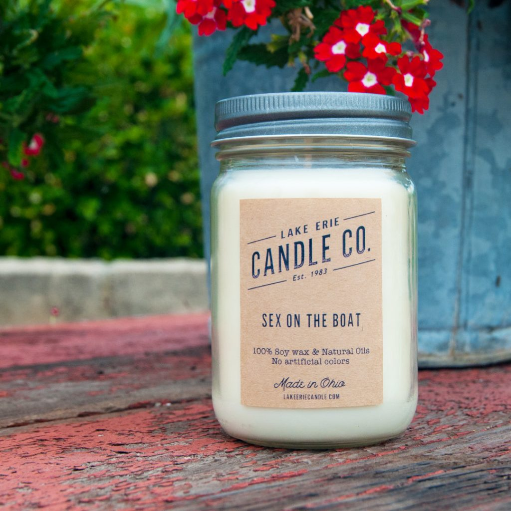 Creative Valentine's gifts that support indie shops: Sex on a Boat handmade candle from Lake Erie Candle Co