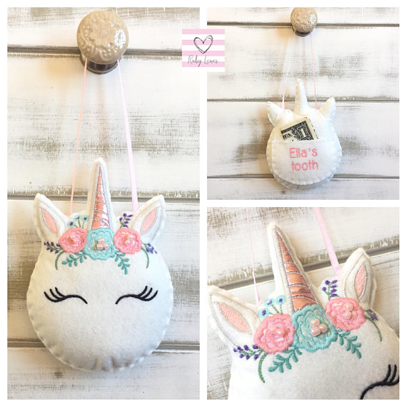 Adorable Tooth Fairy Traditions | Personalized Unicorn Tooth Pillow by RubyLewisDesigns | Cool Mom Picks