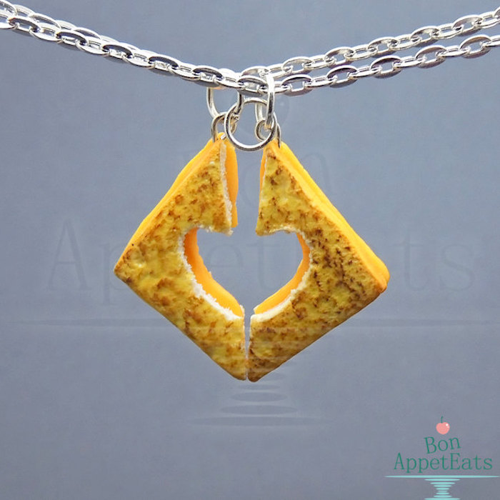 Cool best friend necklaces: Grilled Cheese Best Friends Necklace Set by Bon Appet Eats