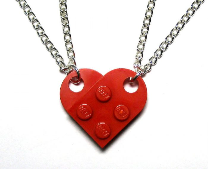 Cool best friend necklaces: LEGO Brick split-heart Necklace by Cute Hearts