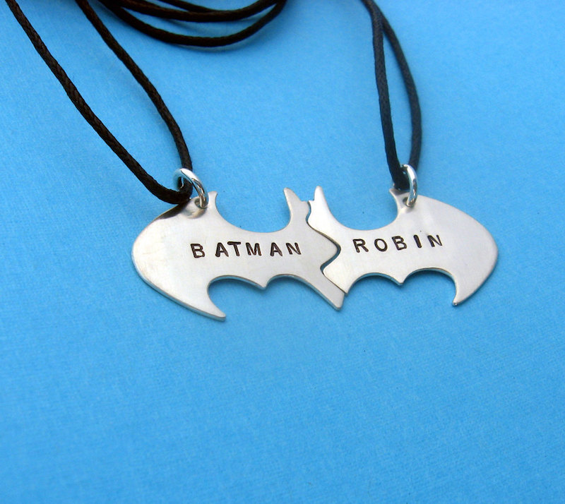 Cool best friend necklaces: Batman and Robin split Necklaces by Vision Quest