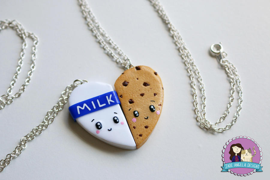 Cool best friend necklaces: Milk and Cookies Friendship Necklace by Jade Angela Designs
