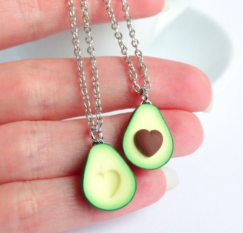 Cool best friend necklaces: Avocado Pendant by Shiny Stuff Creations