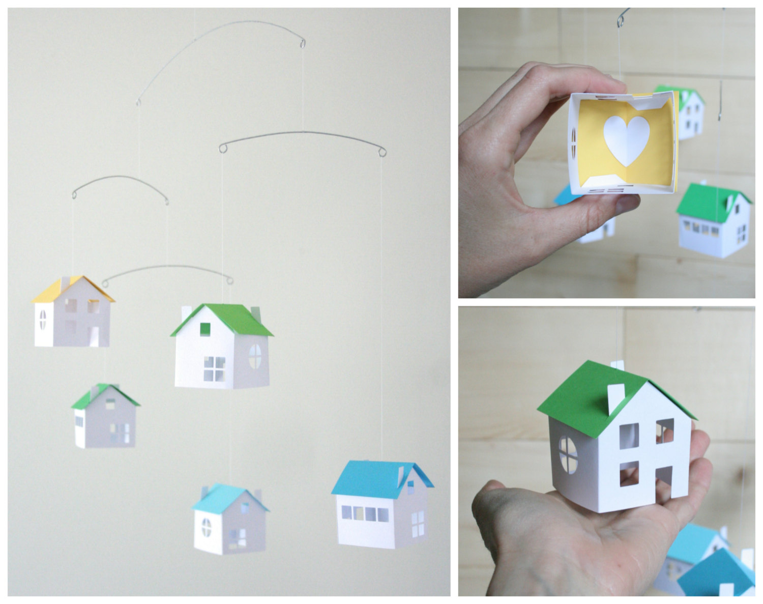 Valentine's Day gifts for babies: Little Paper Houses Mobile by Love Lou Home