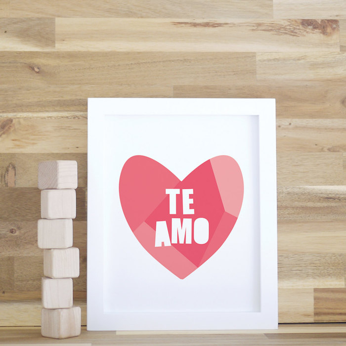 Valentine's Day gifts for babies: Te Amo Art Print by Trendy Peas