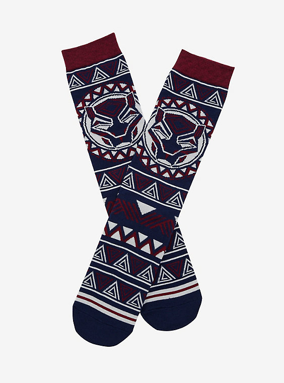 Black Panther patterned crew socks that help give back to people in need