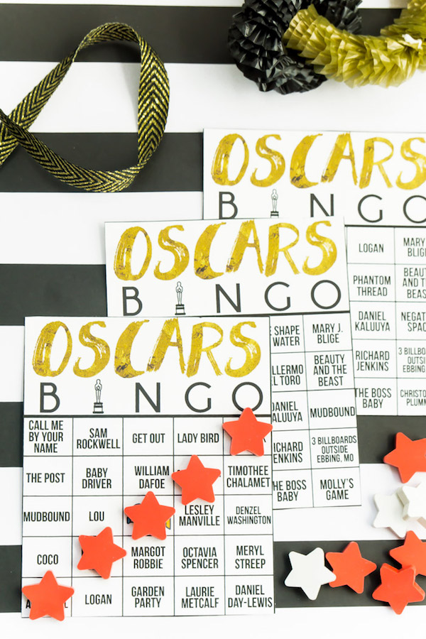 2018 Oscars party ideas: Bingo Cards by Play Party Plan