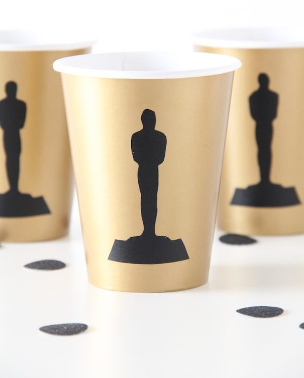 Oscars party ideas: DIY Oscars Party Cups by And We Play