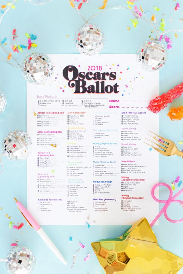 2018 Oscars party ideas: Free Printable Oscar Ballot by Studio DIY