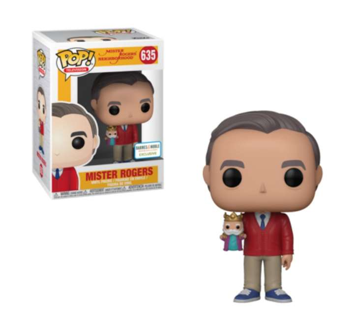 This Funko pop Mister Rogers vinyl figure has him in a red cardigan holding King Friday.