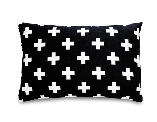 Black and white baby gifts: Black and white cross pillow | Olli and Lime