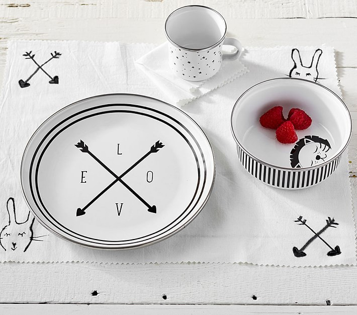 Emily Meritt black and white baby feeding set at PBK