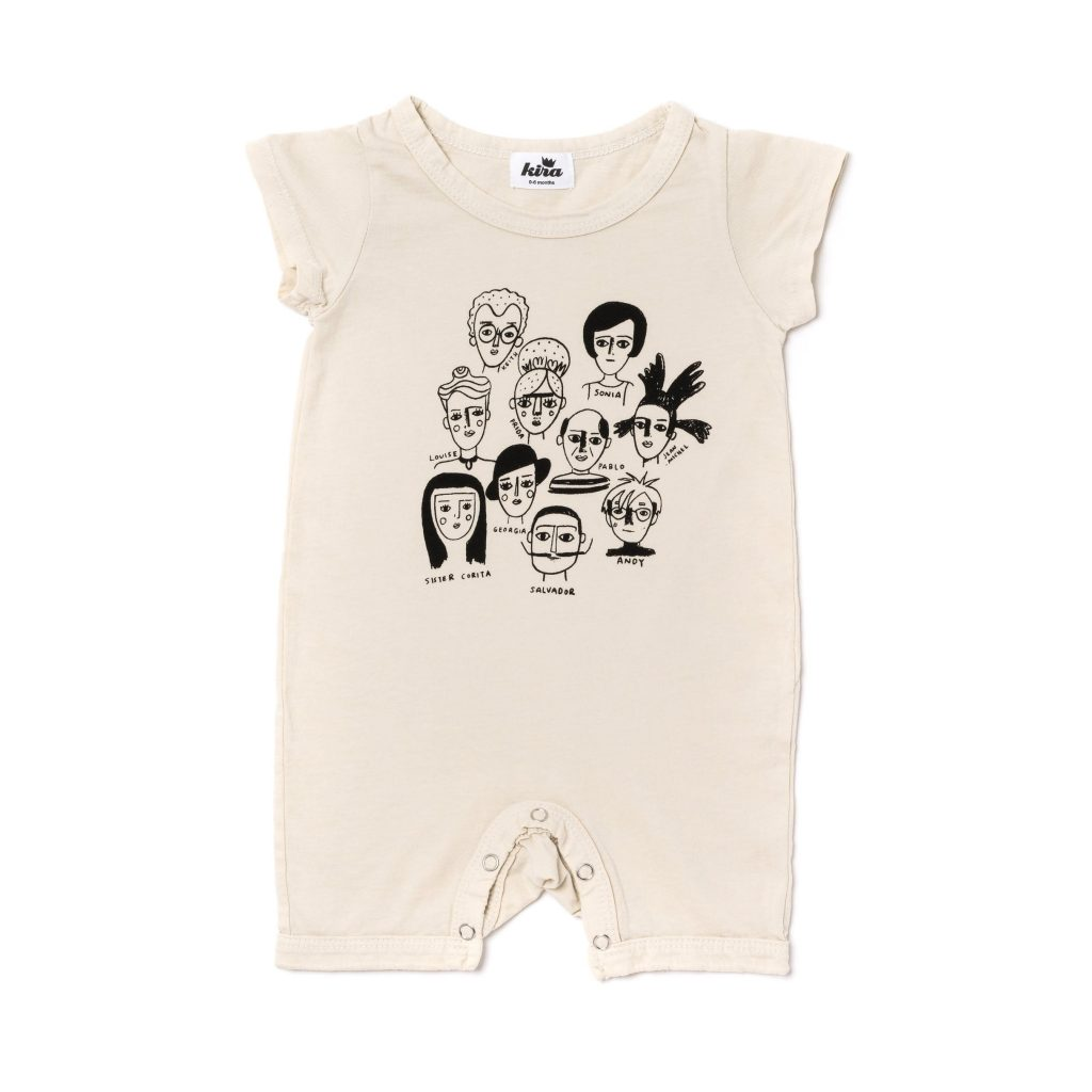 Great artists in history baby romper at Kira Kids