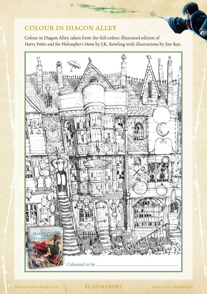 Free Harry Potter Diagon Alley coloring page for #HarryPotterBookNight