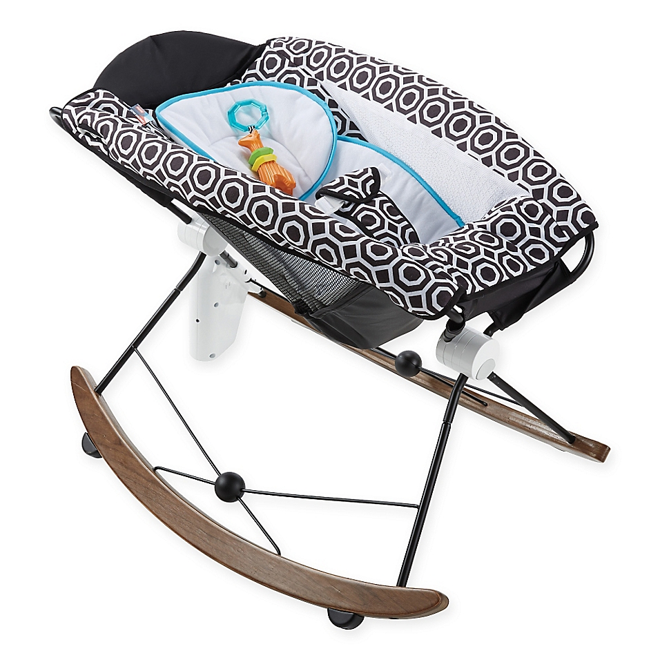 Black and White baby gifts: Jonathan Adler deluxe smart baby rocker for Fisher Price