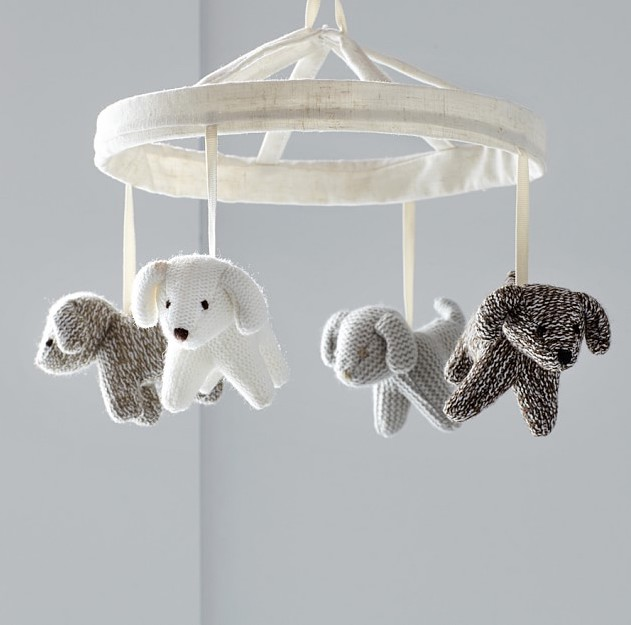 Knit dog crib mobile for Year of the Dog baby gift ideas
