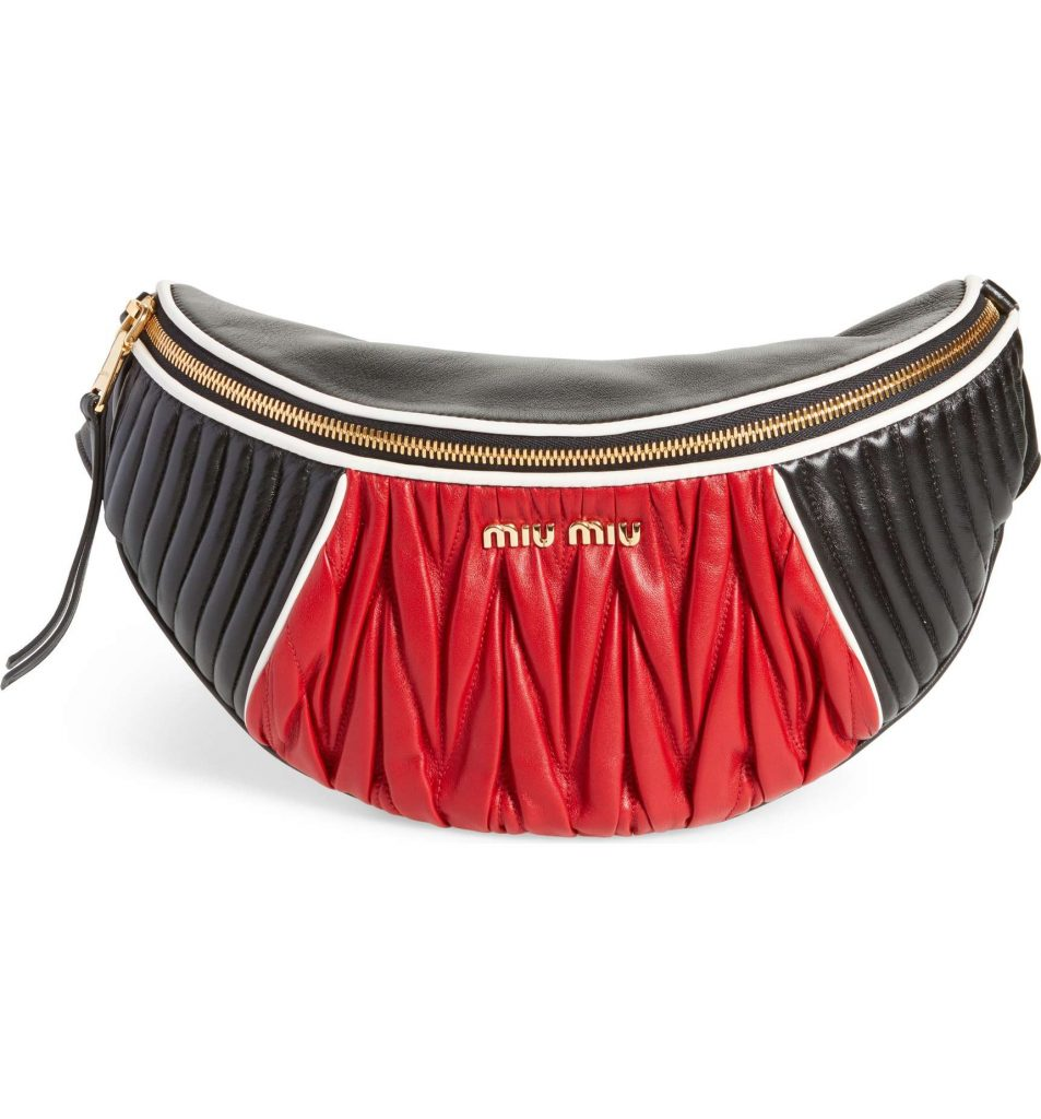 Hot belt bags for 2018: Miu Miu Rider Matelassé Leather Belt Bag. Ooh!
