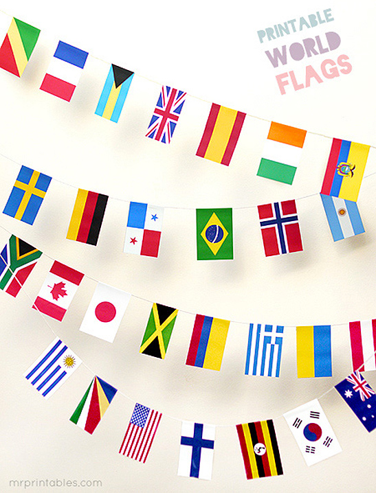 Free printable world flags bunting from Mr. Printables for Winter Olympics decorating and crafts