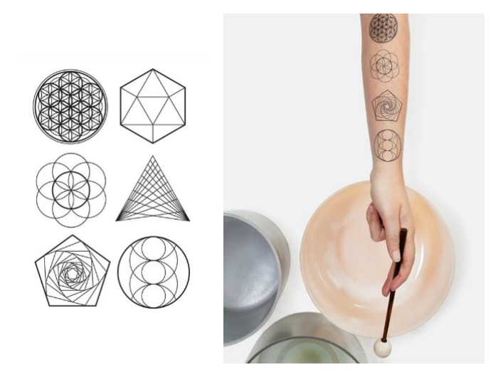 Tattly's new scented sacred geometry tattoos were created in collaboration with Sara Auster and include guided meditation audio sessions