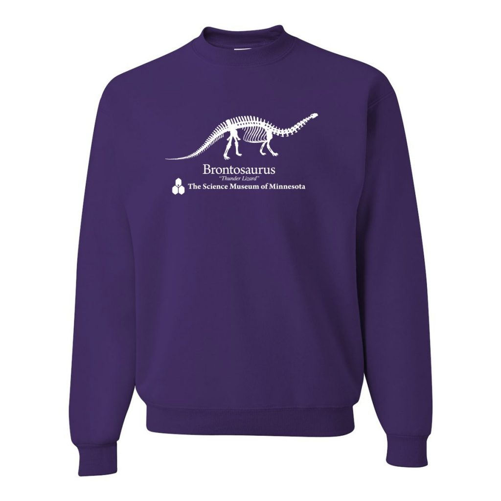 Science Museum of Minnesota Brontosaurus Sweatshirt as seen on Dustin from Stranger Things. Here's how to find your own!