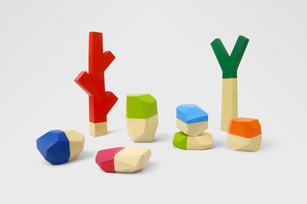 Sticks and Stones set of nature inspired wooden blocks, handmade by Water & Lightning