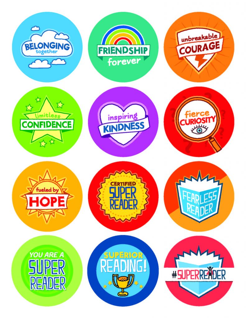 Free printable super reader stickers from Scholastic for #WorldReadAloudDay