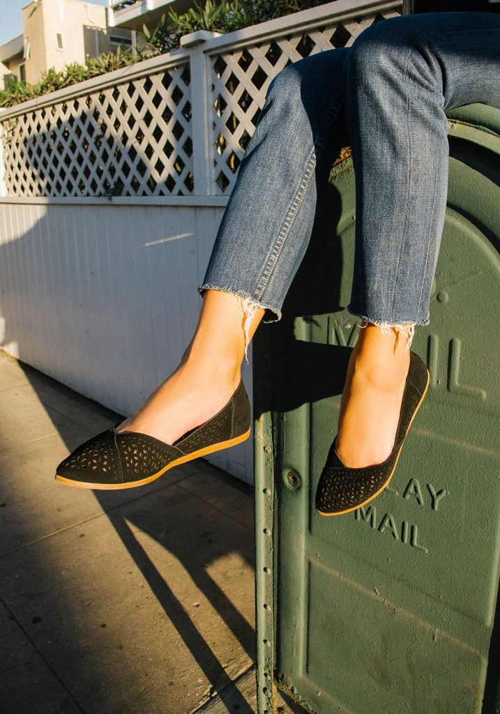 TOMS  Black Perforated Suede Women's Jutti Flats for spring