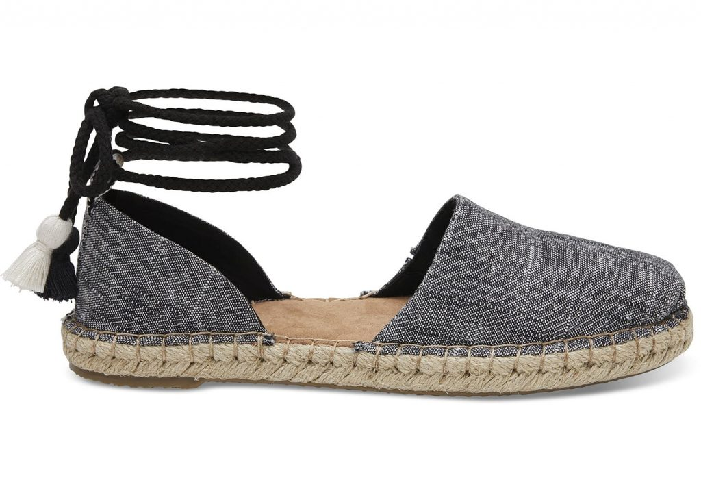 TOMS for spring: black chambray espadrille
