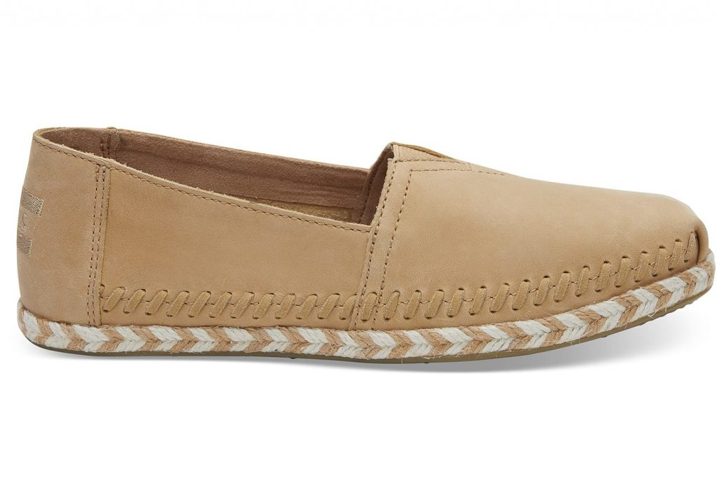TOMS for spring: Honey leather espadrilles resembling a chic driving moc