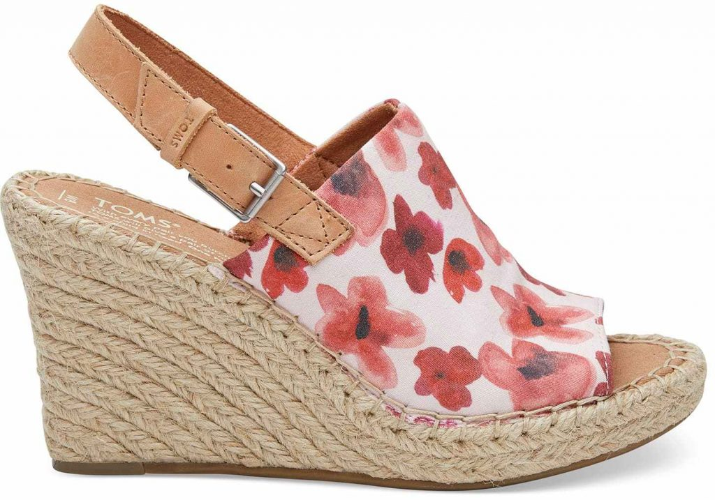TOMS for spring: Poppy Watercolor Floral Wedges
