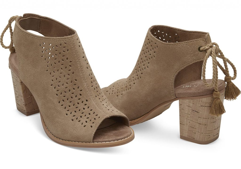 TOMS Toffee Perforated Suede Booties